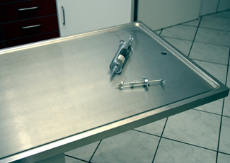 steel exam table