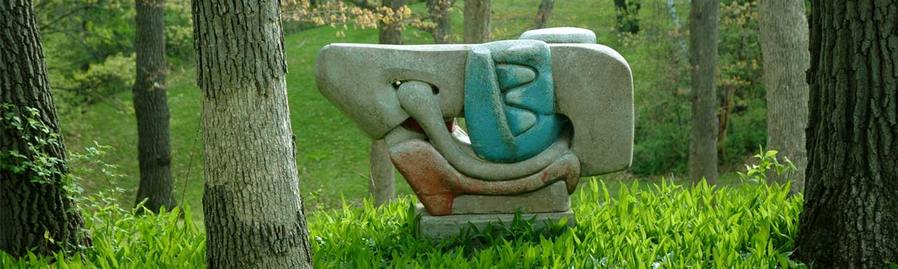 sculpture in forest at Caponi Art Park